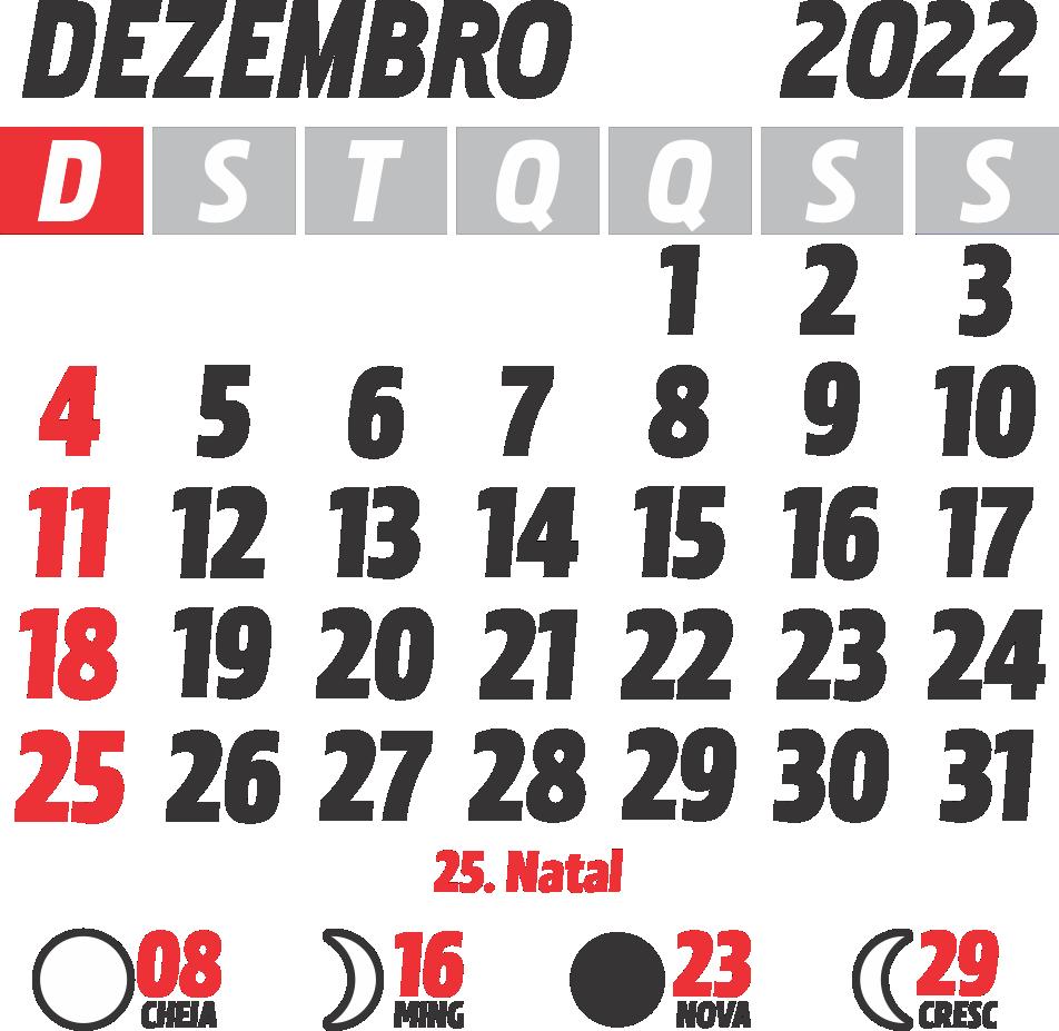 Calendário 2022 Dezembro com Feriados e Fases da Lua