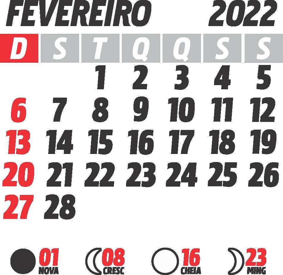 Calendário 2022 Janeiro com Fases da Lua