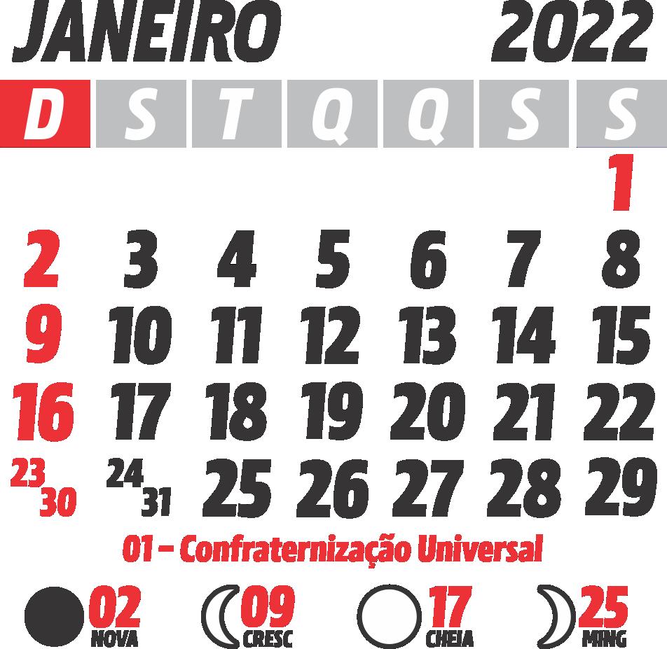 Calendário 2022 Janeiro com Feriados e Fases da Lua