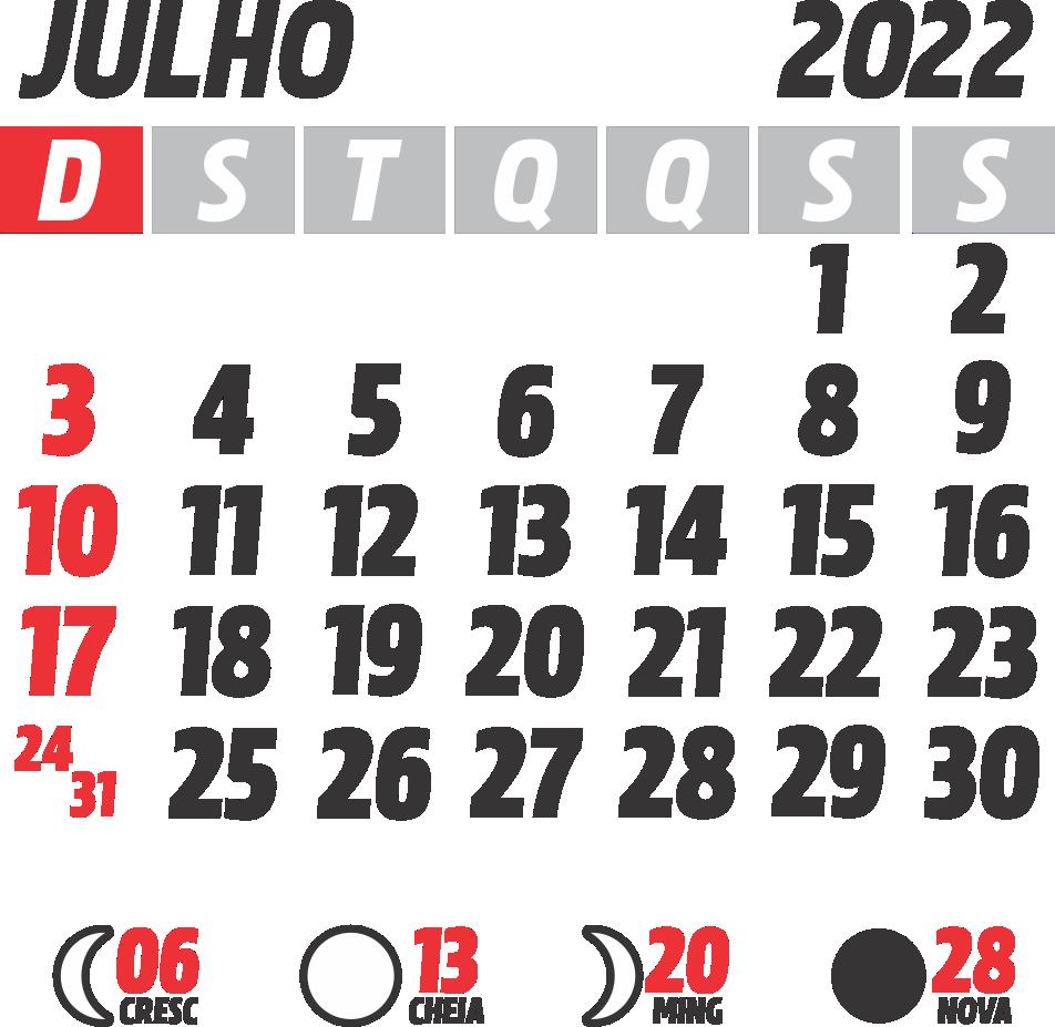 Calendário 2022 Julho com Feriados e Fases da Lua
