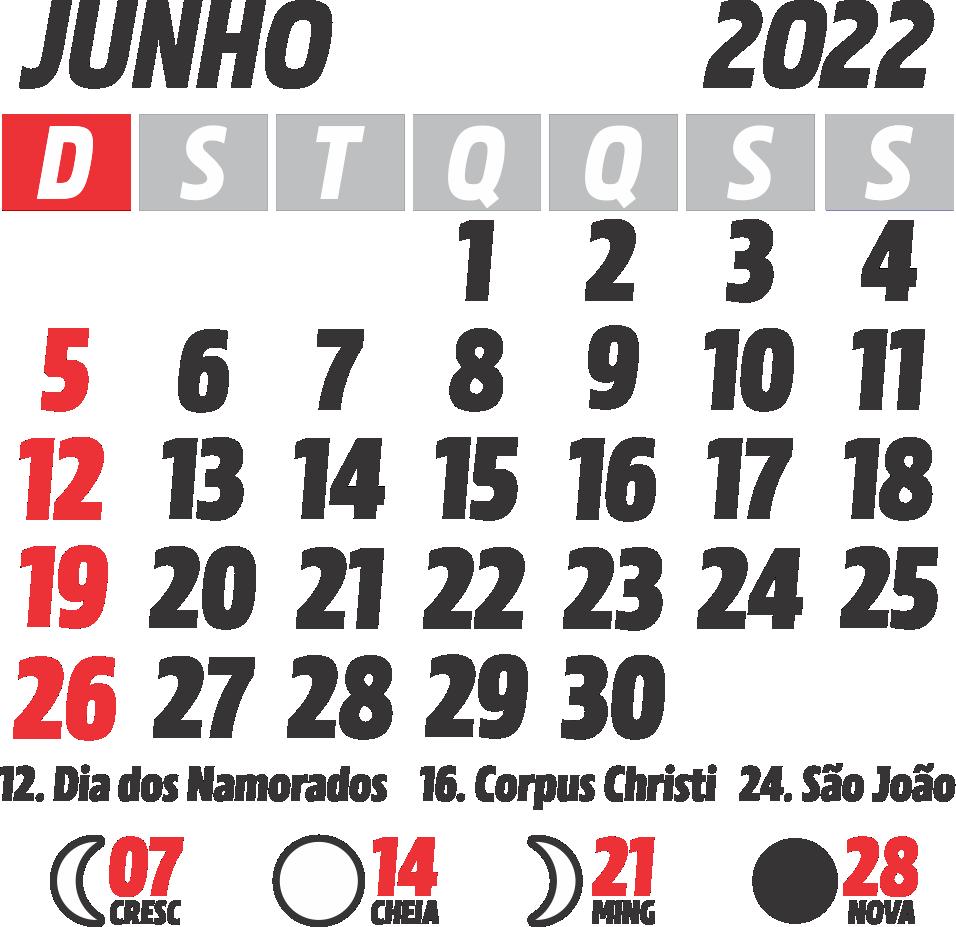 Calendário 2022 Junho com Feriados e Fases da Lua