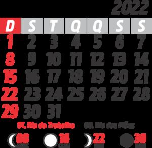 Calendário 2022 Maio com Feriados e Fases da Lua
