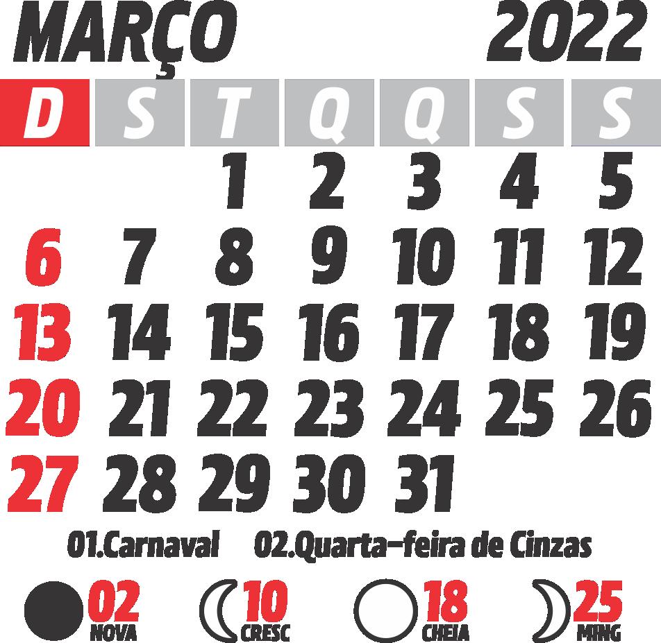 Calendário 2022 Março com Feriados e Fases da Lua