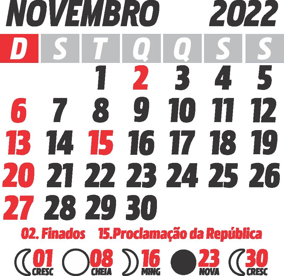 Calendário 2022 Novembro com Feriados e Fases da Lua