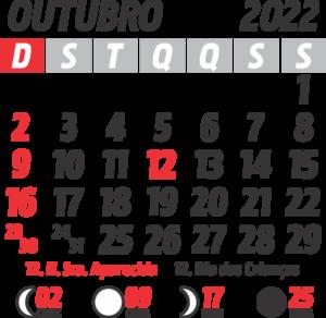 Calendário 2022 Outubro com Feriados e Fases da Lua