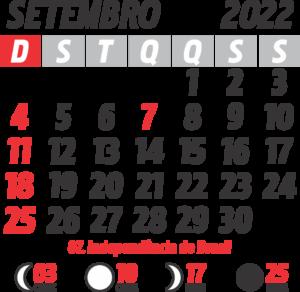 Calendário 2022 Setembro com Feriados e Fases da Lua