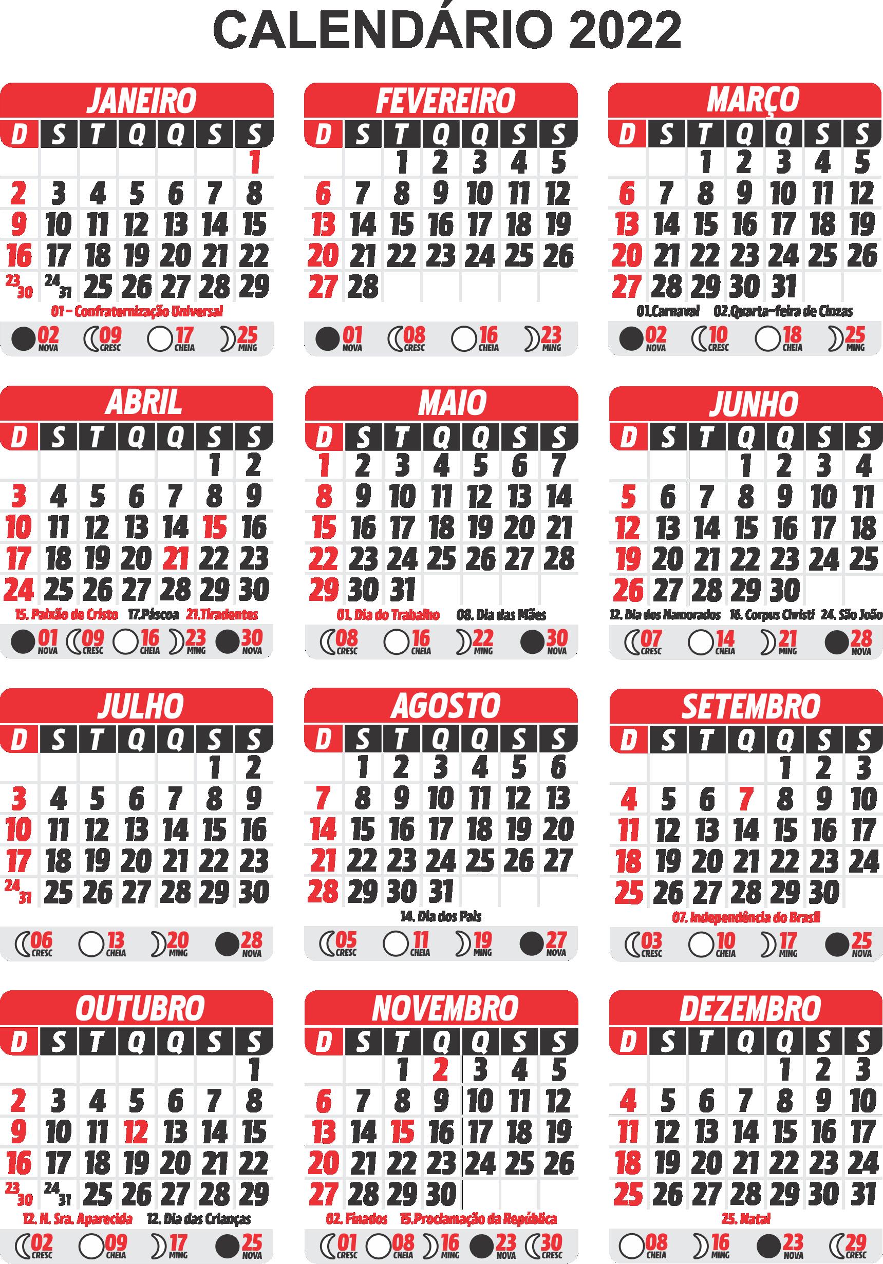 Gabarito Calendário 2022 PNG