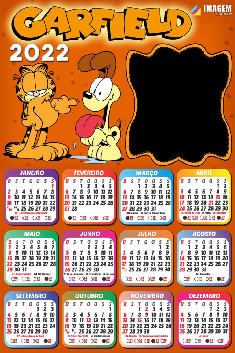 Moldura Calendário 2022 Garfield Colagem de Foto | Imagem ...