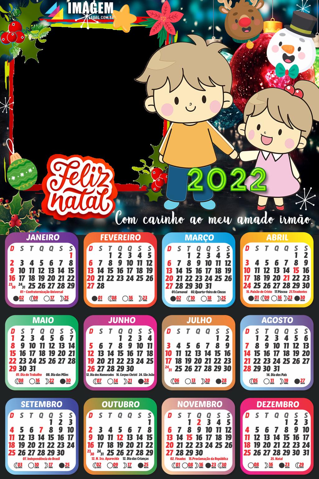 Colagem de Foto Gratuito Calendário 2022 Feliz Natal Irmão ...